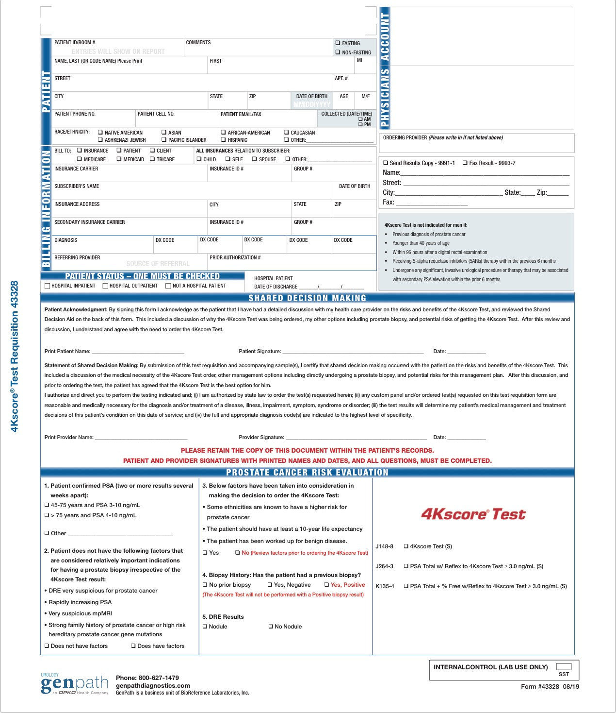 4Kscore Test Requisition Form